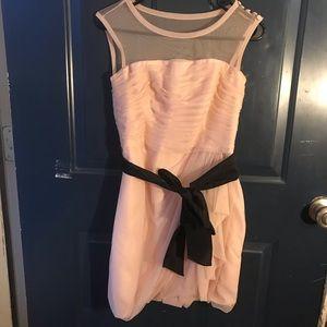 Blush bobbin net bridesmaid dress